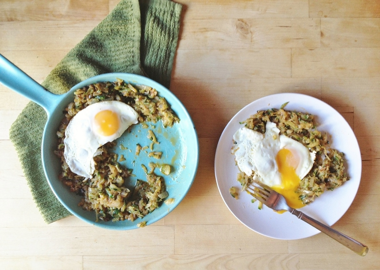 Zucchini + Onion Hash with Farm Fresh Eggies