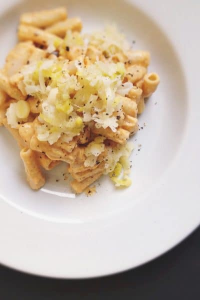 Creamy Butternut Squash Sauce with Caramelized Leeks + Penne