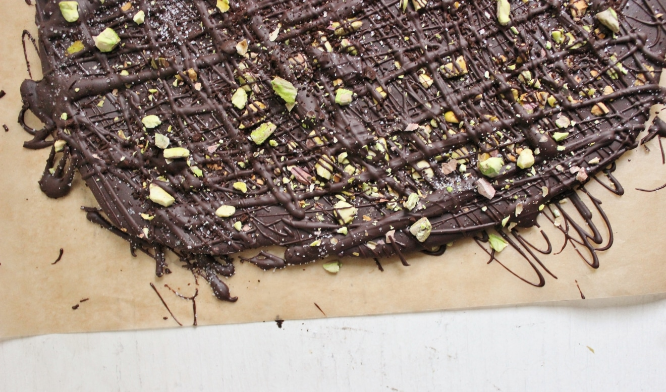 Dark Chocolate Bark with Coffee Pistachios + Sea Salt