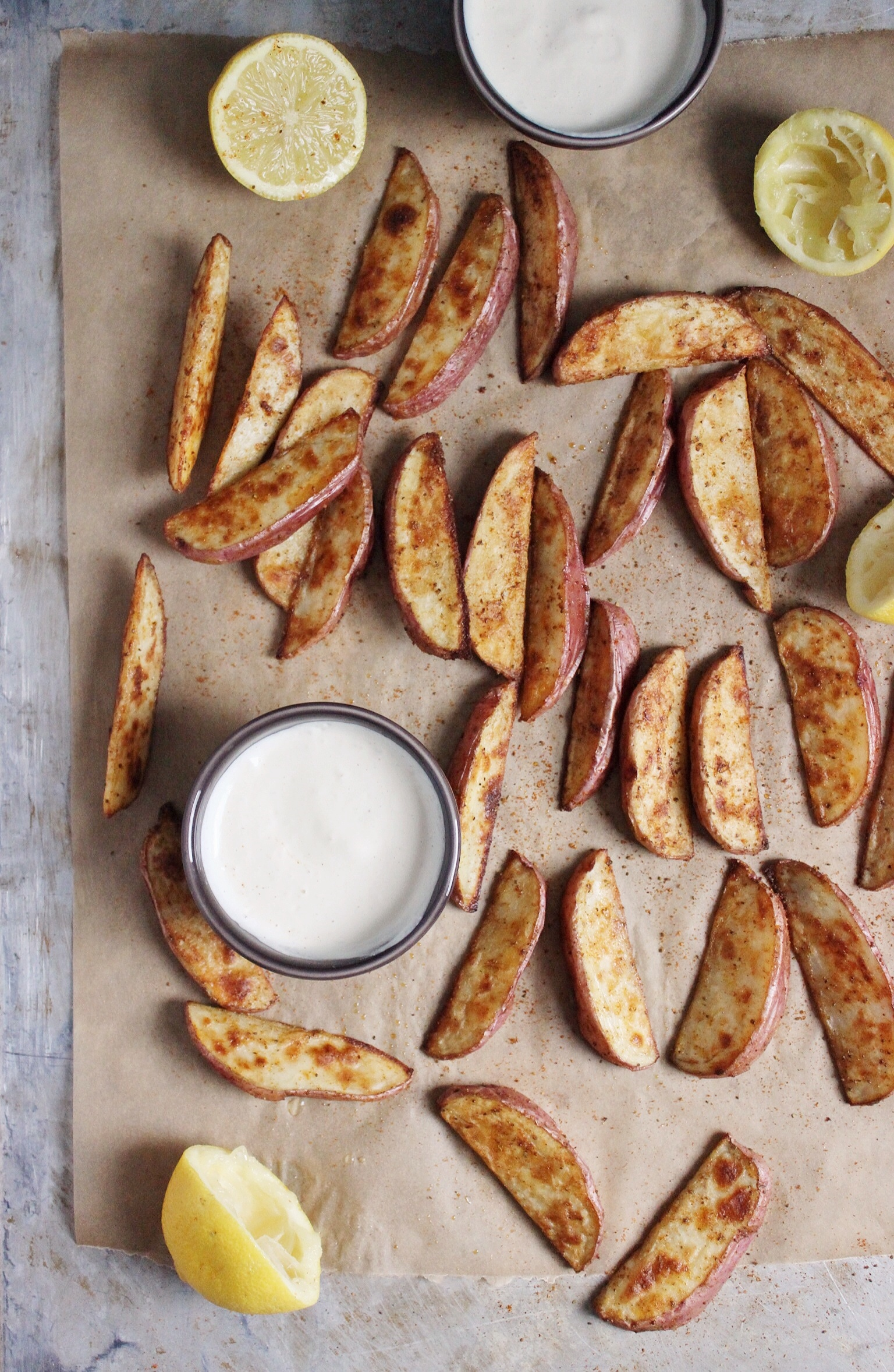 Baked Old Bay Fries with Creamy Cashew Onion Dip