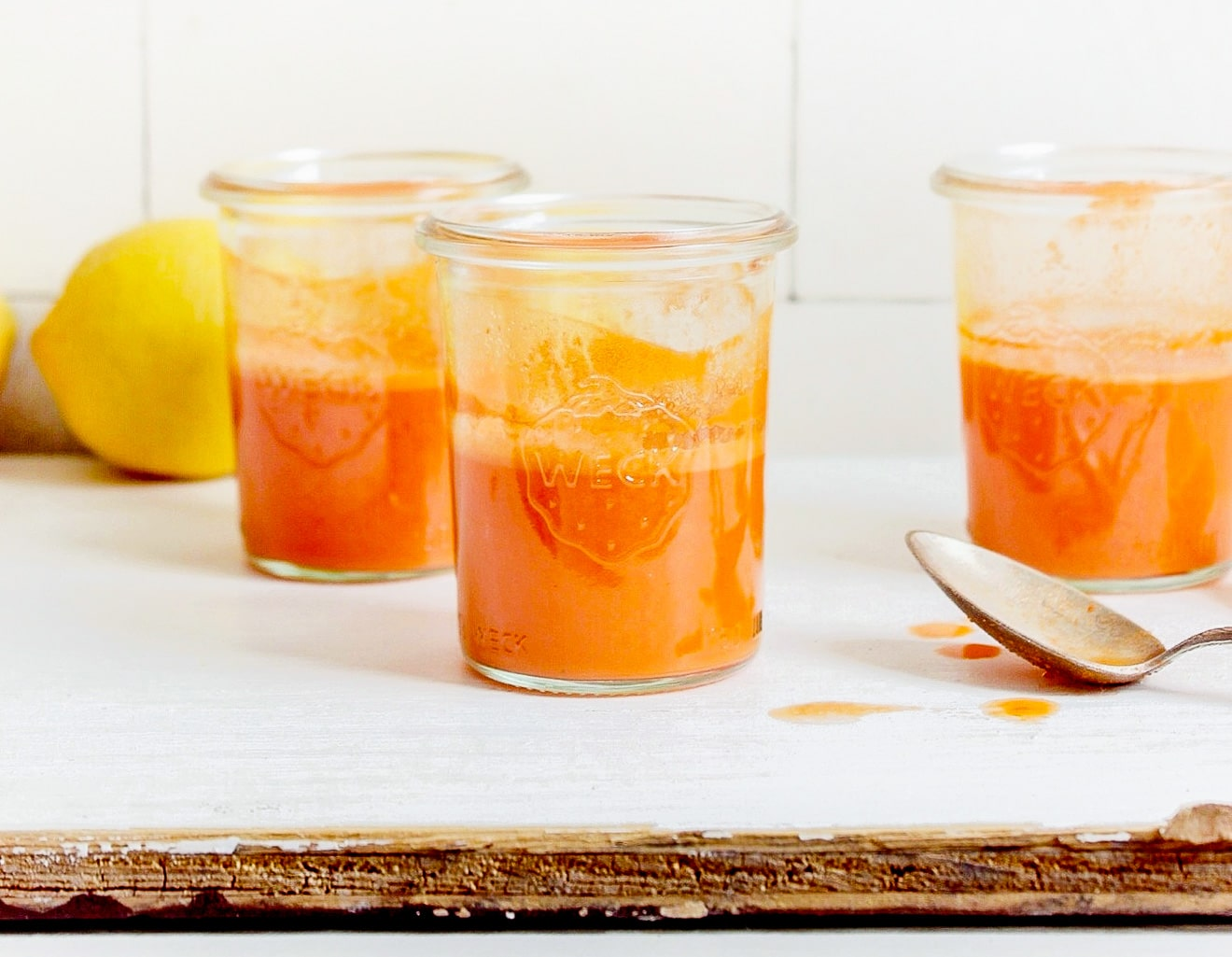 Immunity Juice Shots with carrot ginger lemon + garlic for flu season!