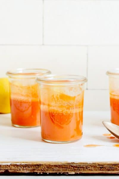 Immunity Juice Shots with Carrot and Ginger and Lemon and Garlic