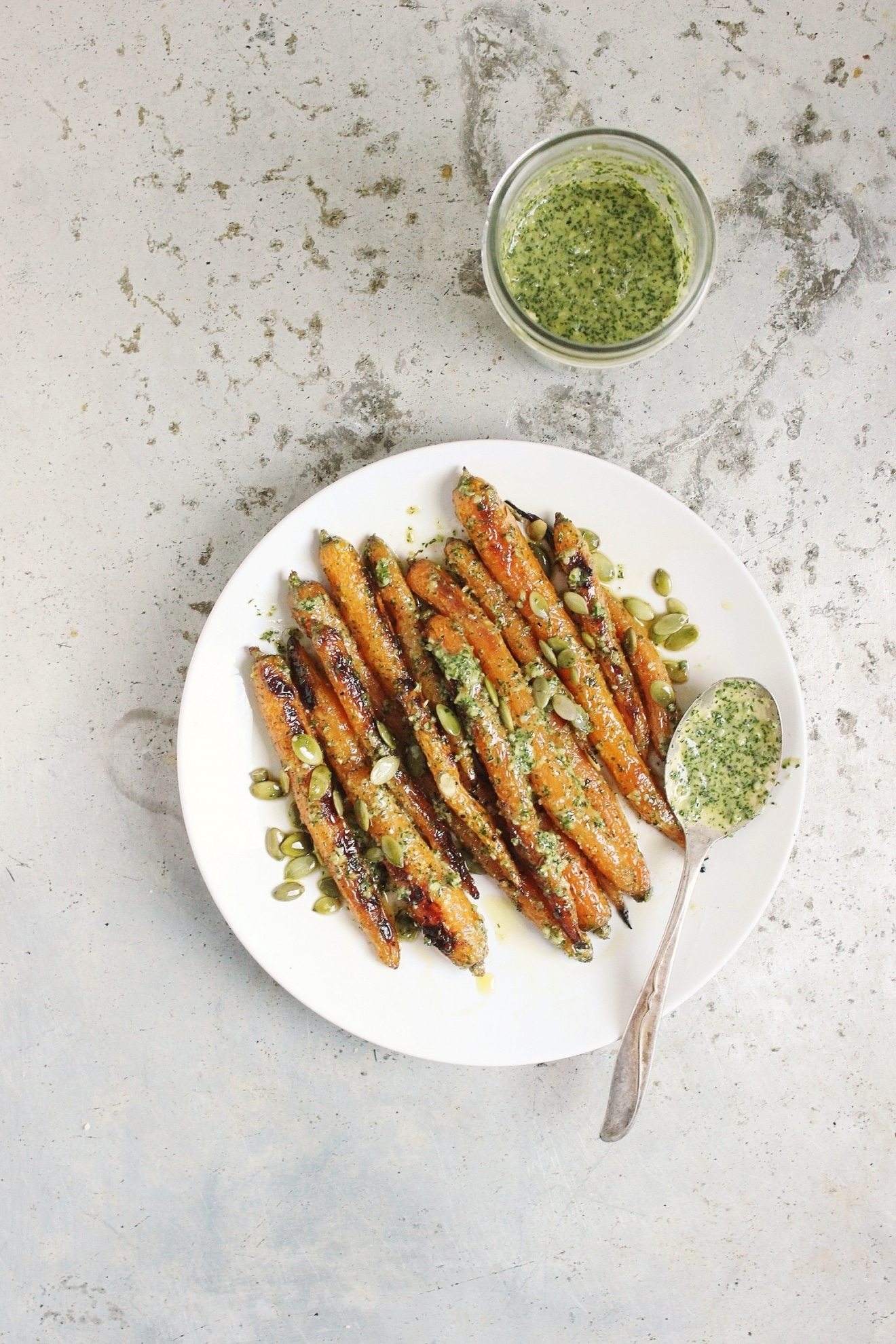 Roasted Spring Carrots with Lemony Dill Pesto