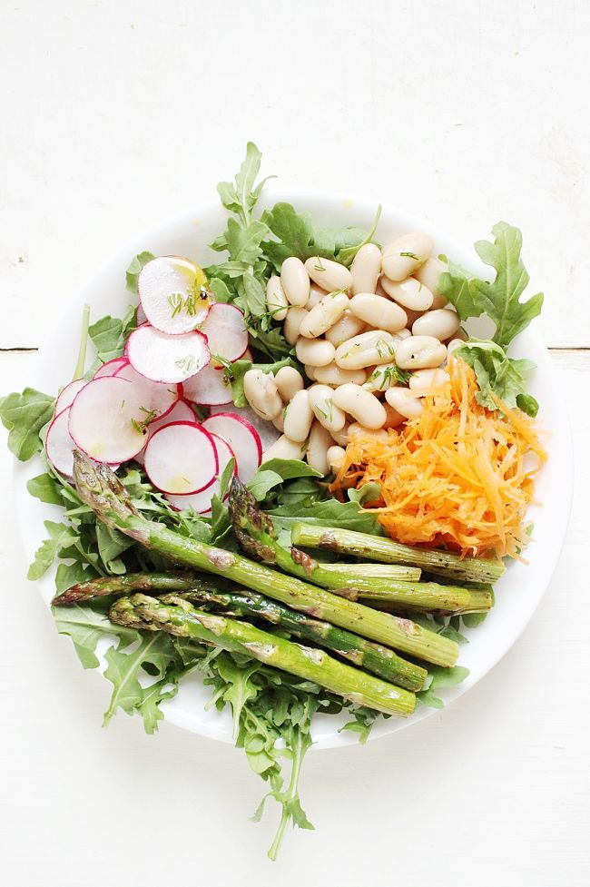 Spring Harvest Bowl with a Dill Shallot Vinaigrette | @withfoodandlove
