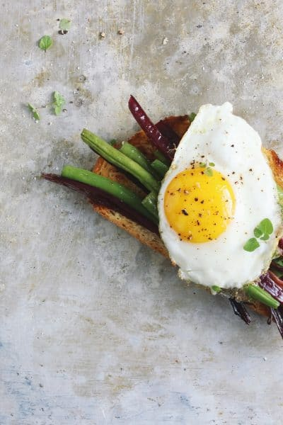 Garlicky Beet Green + Green Bean Open-faced Egg Sandwiches
