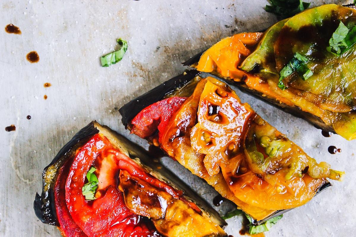 eggplant with heirloom tomatoes