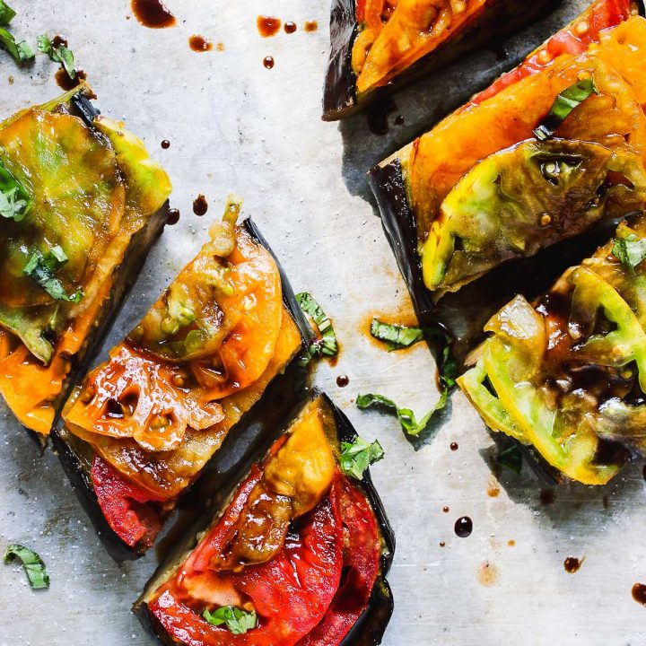 Basil Roasted Eggplant with Heirloom Tomatoes