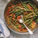 "Green Bean ""Pasta"" with Heirloom Cherry Tomato Marinara"