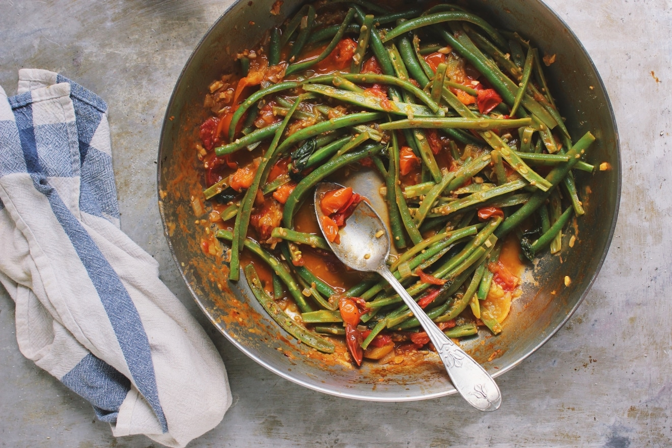 "Green Bean ""Pasta"" with Heirloom Cherry Tomato Marinara"