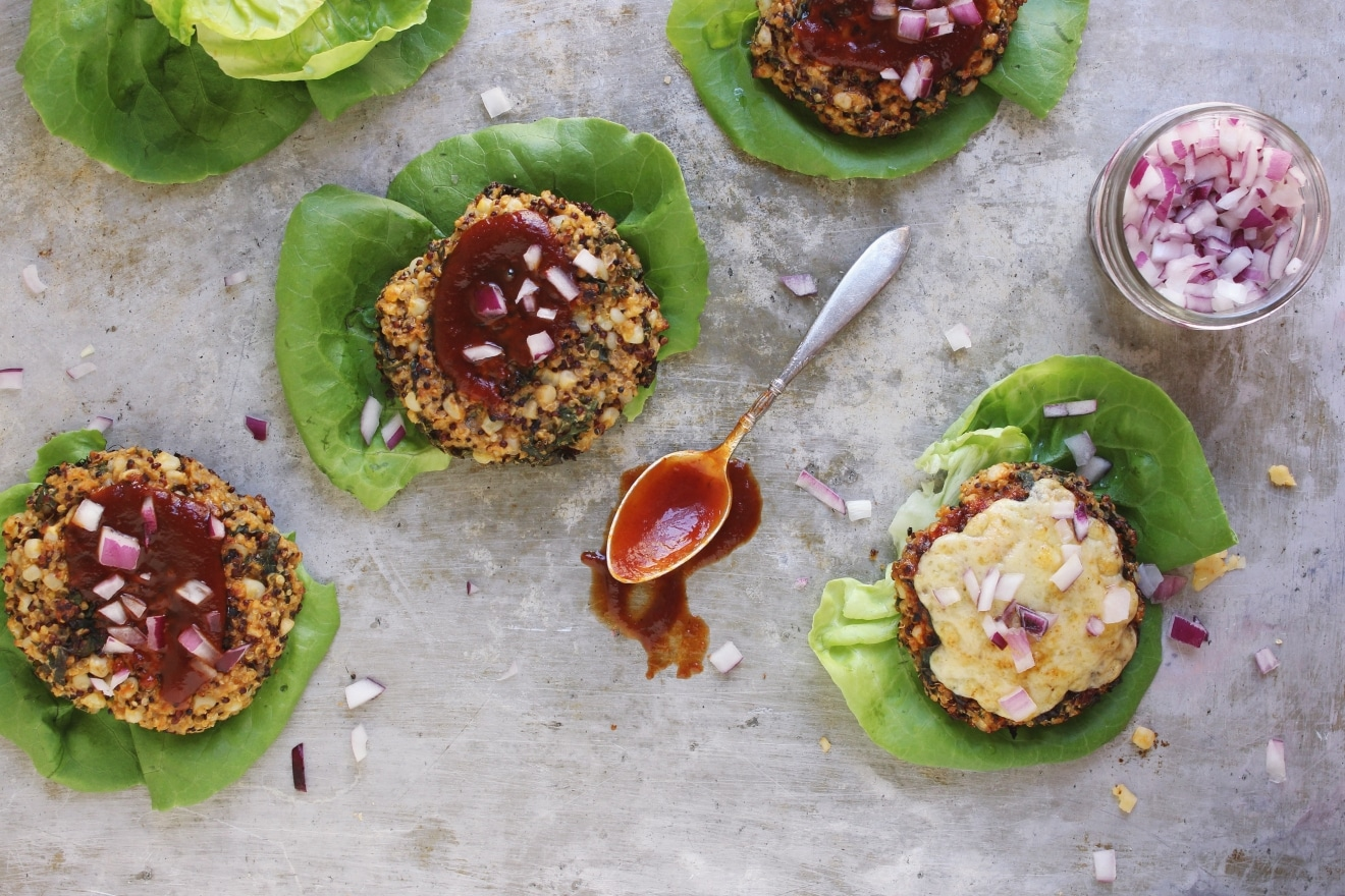 BBQ Quinoa Kale + Corn Veggie Burgers | @withfoodandlove