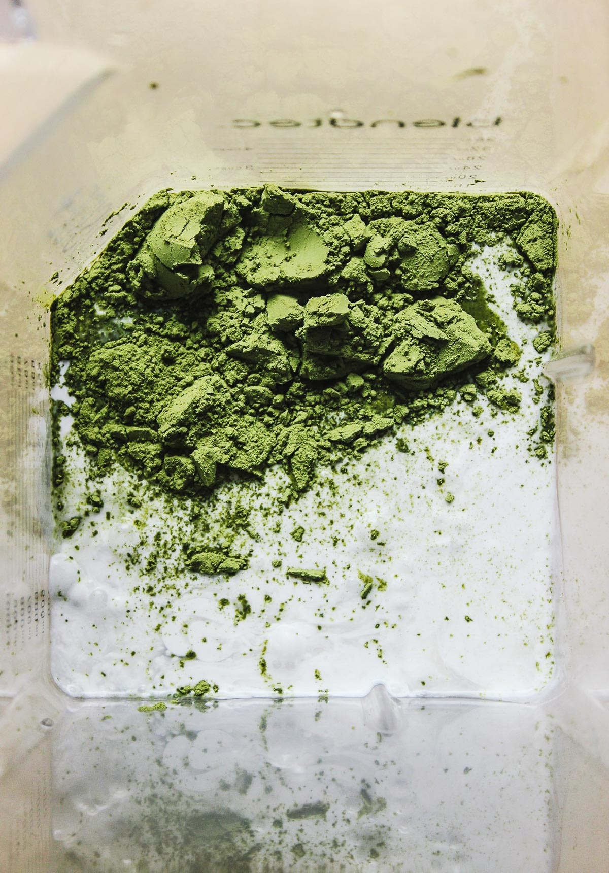 matcha and coconut in blender