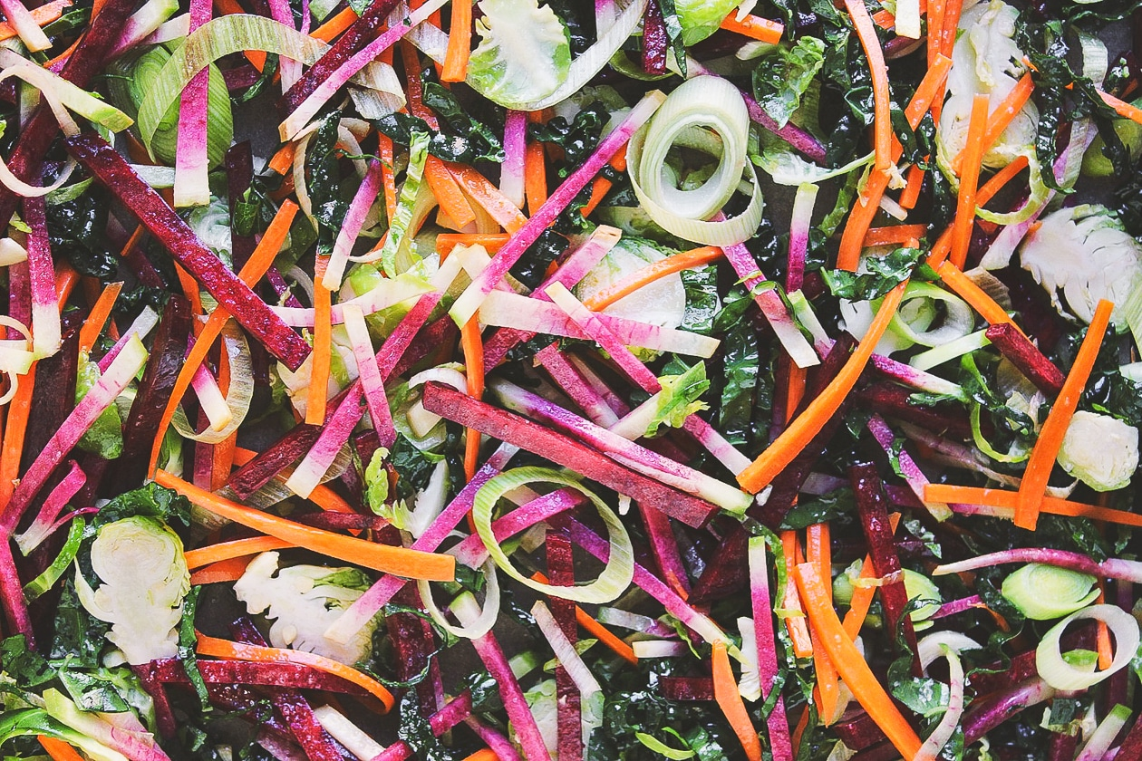 Shredded Harvest Hash Breakfast Tacos   Autumnal vegetables thinly shredded and roasted into a crispy harvest hash. Fill a tortilla with a fried egg and/or black beans for the best breakfast taco.