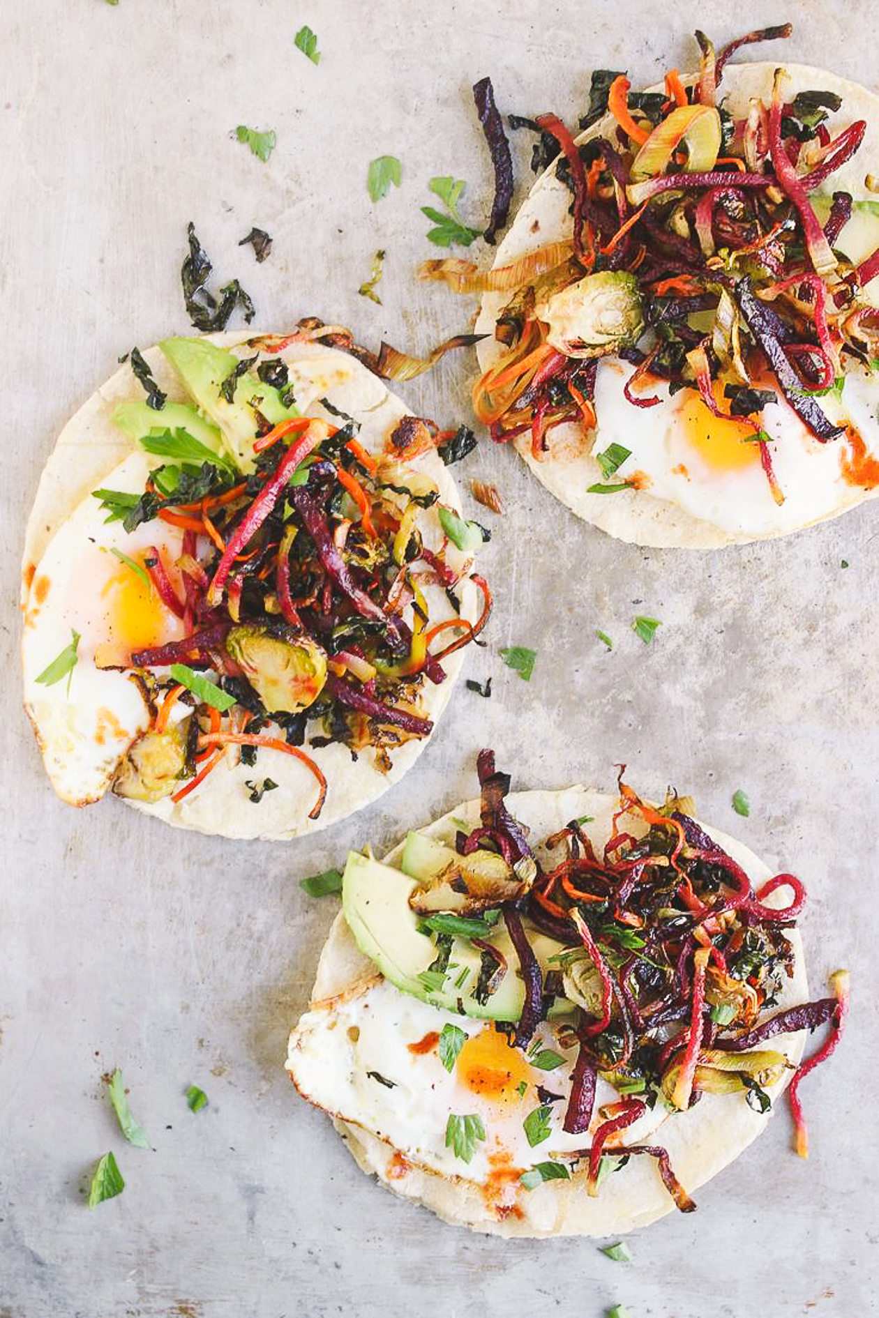 Shredded Harvest Hash Breakfast Tacos