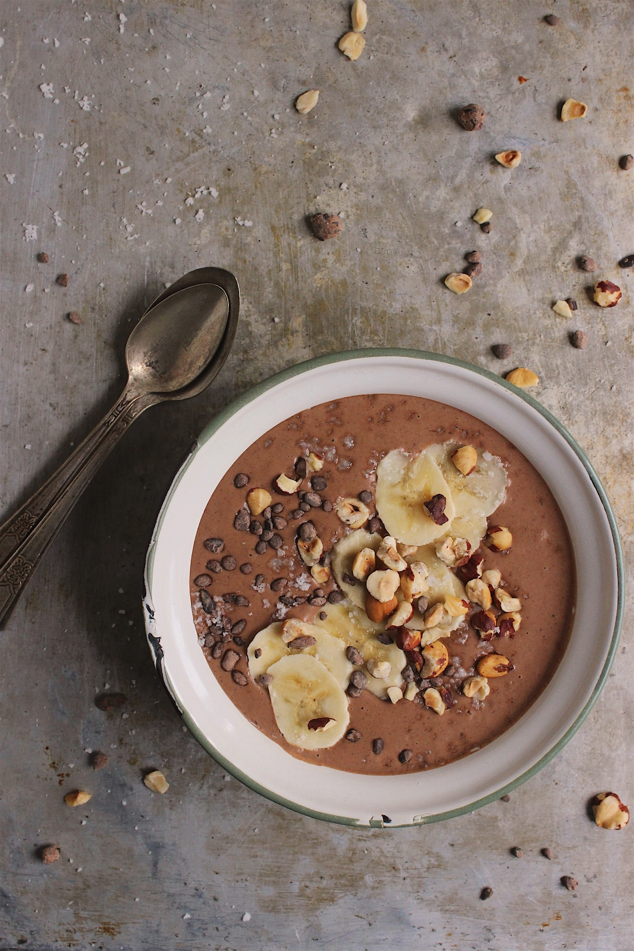 Chocolate Hazelnut Smoothie Bowl with Banana + Cacao Nibs