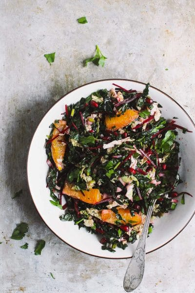 Winter Chopped Kale Salad with Lemon Vinaigrette