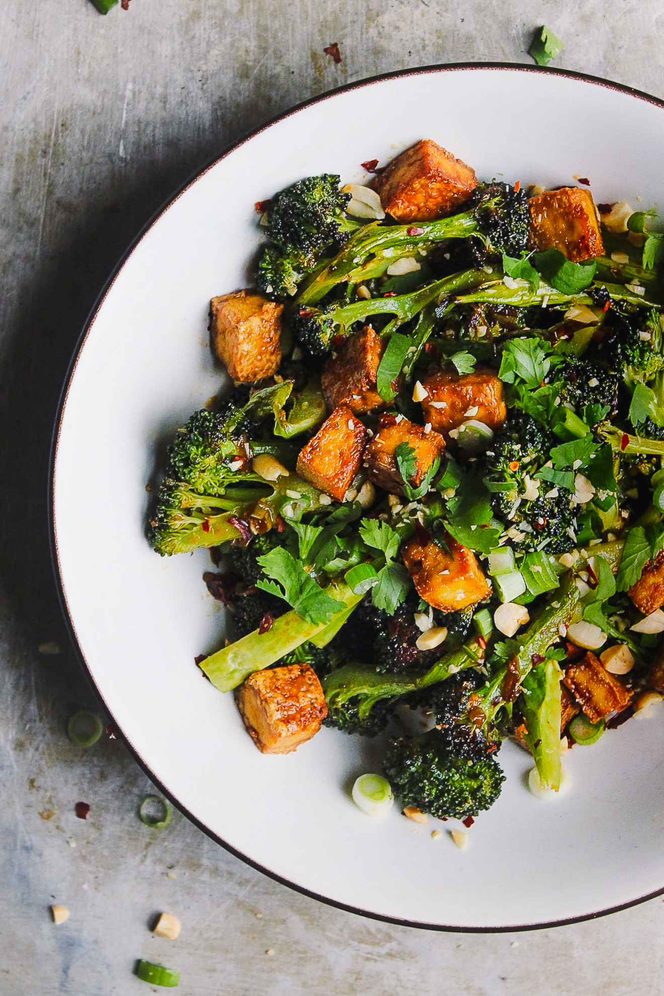 Crispy Baked Tofu Broccoli Bowl with Blood Orange Sauce
