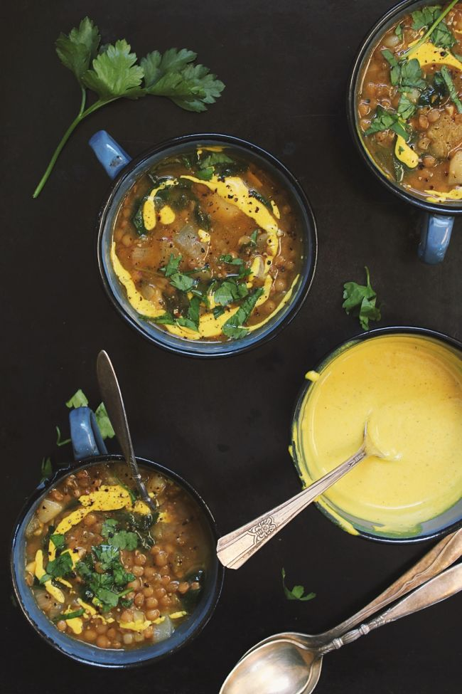 Green Lentil Soup with Potatoes + a Lemony Mustard Cream | @withfoodandlove