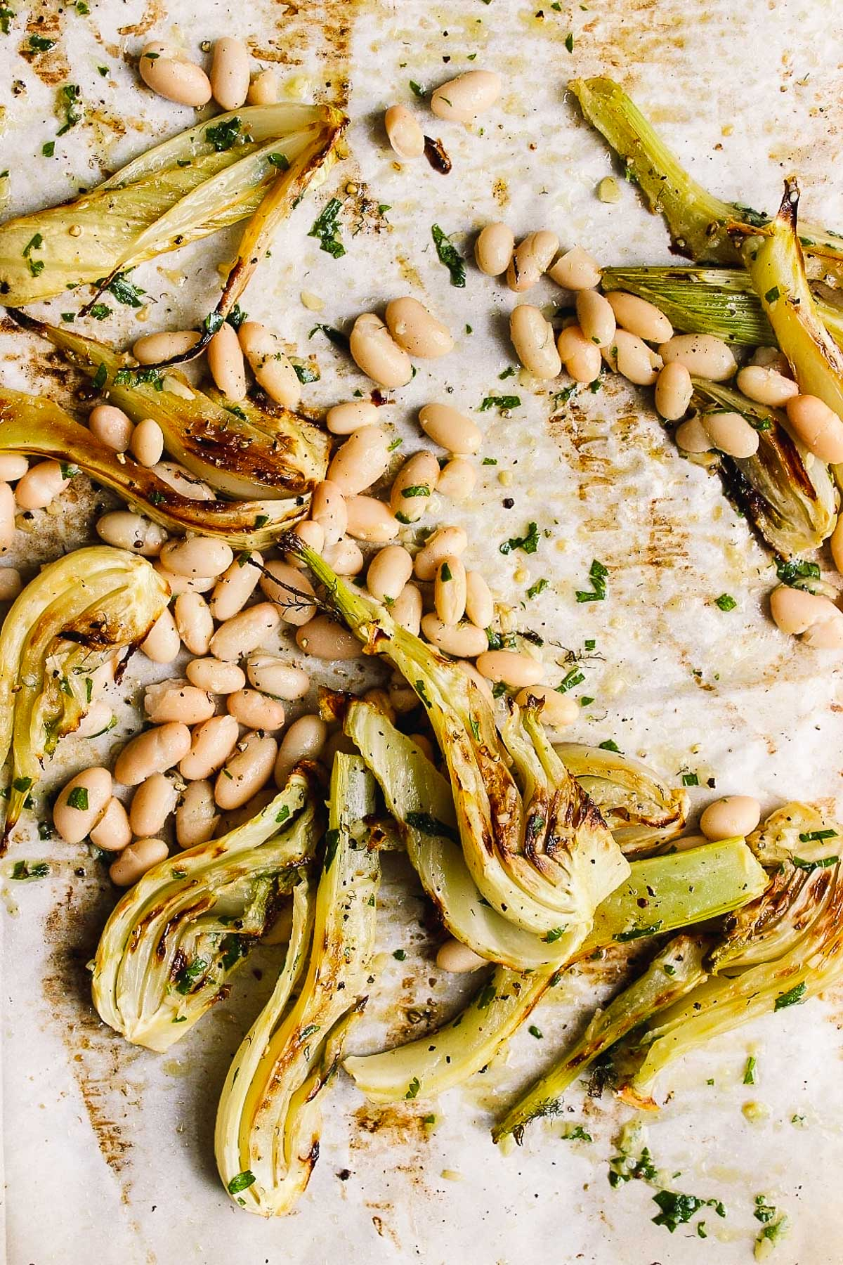 Sheet Pan Roasted Fennel and White Beans with Parsley Oil