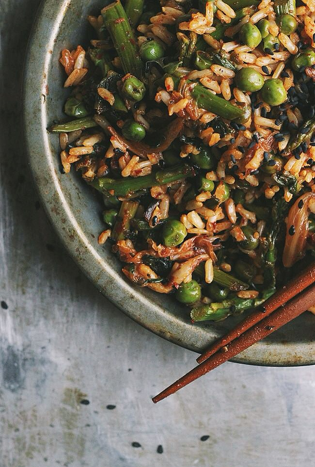Spring Veggie Fried Rice with Ramps + Kimchi   @withfoodandlove