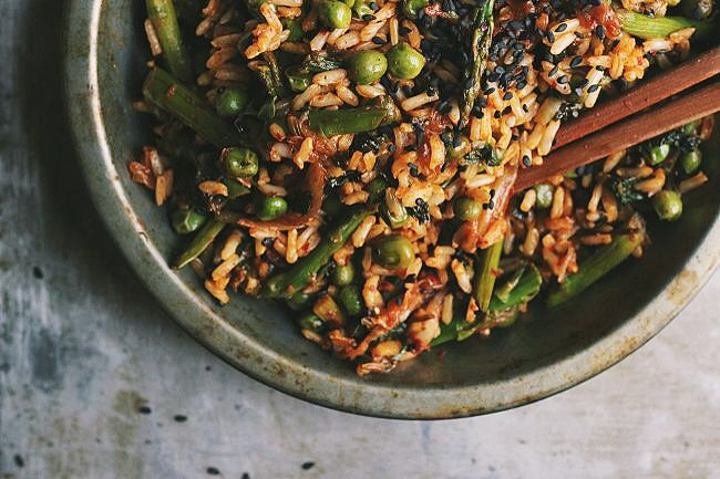 Spring Veggie Fried Rice with Ramps + Kimchi | @withfoodandlove