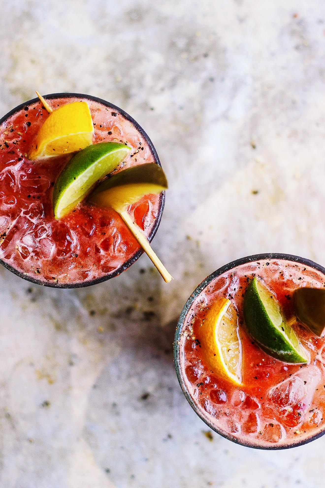 Fresh Bloody Marys with Old Bay + Spicy Pickles
