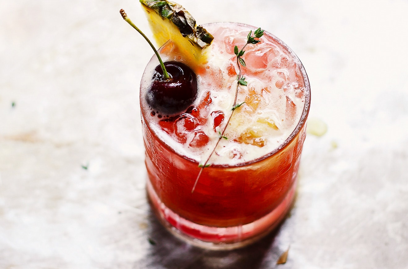 Hibiscus Mai Tai with Thyme and Fresh Pineapple