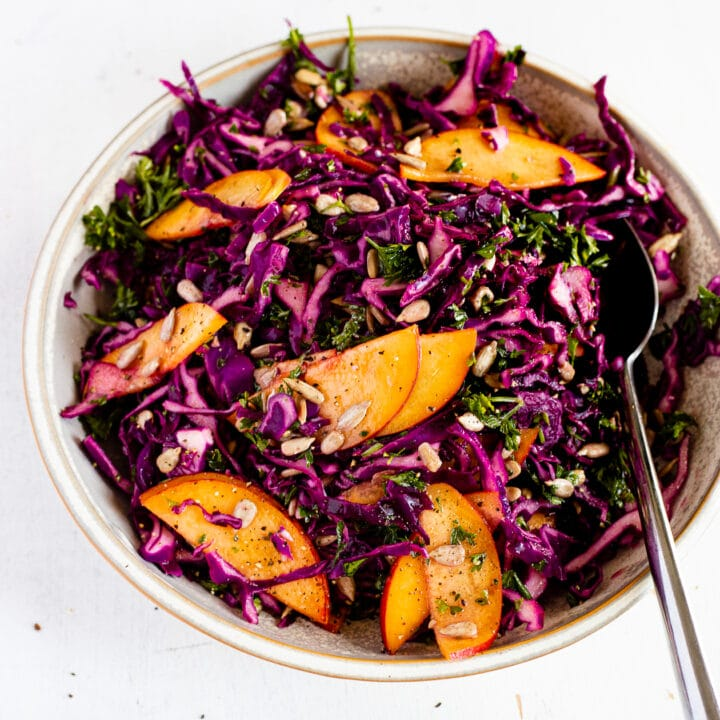 summer slaw in a bowl with sunflower seeds