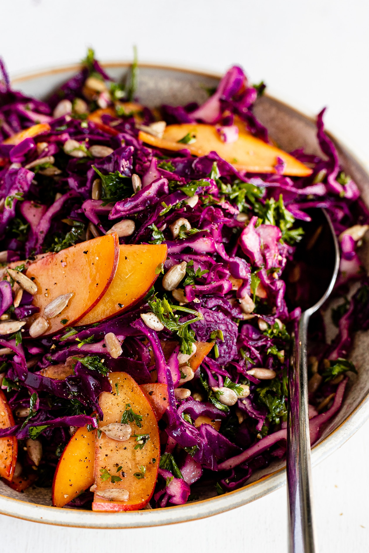 red cabbage and peach slaw