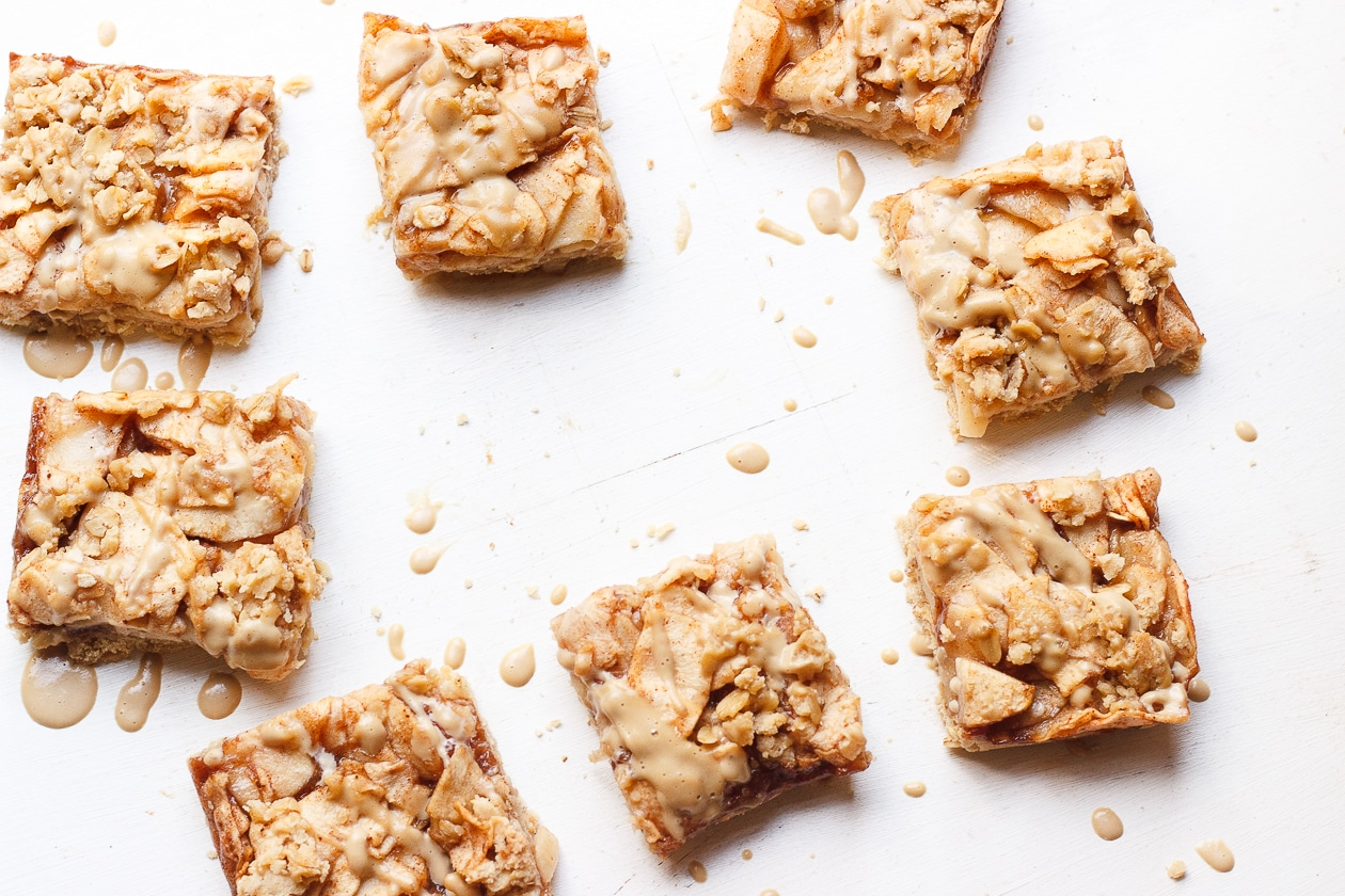 Apple Crumb Bars with Maple Coffee Glaze   These maple-sweetened, gluten-free and naturally vegan, oat apple crumb bars are fancied up with a light drizzle of a maple coffee glaze.