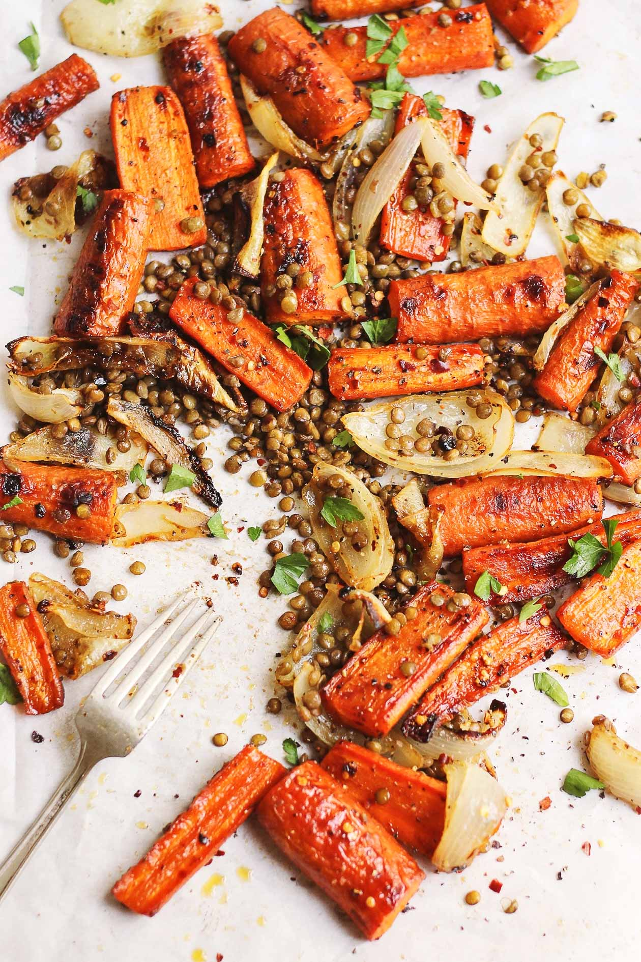 Spicy + Sweet Maple Carrots with Crispy Lentils + scenes from quebec!
