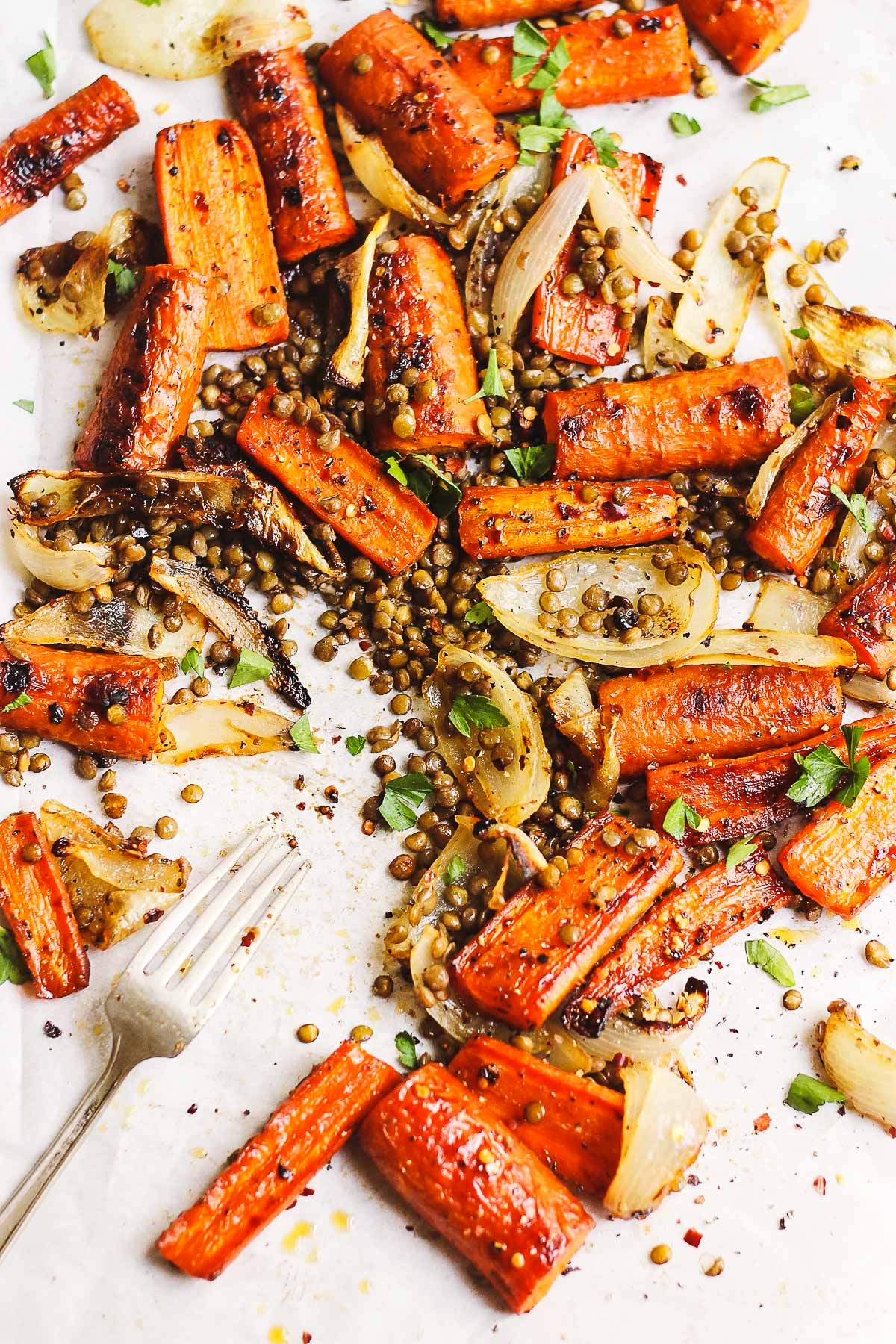 Sheet Pan Maple Roasted Carrots with Crispy Lentils