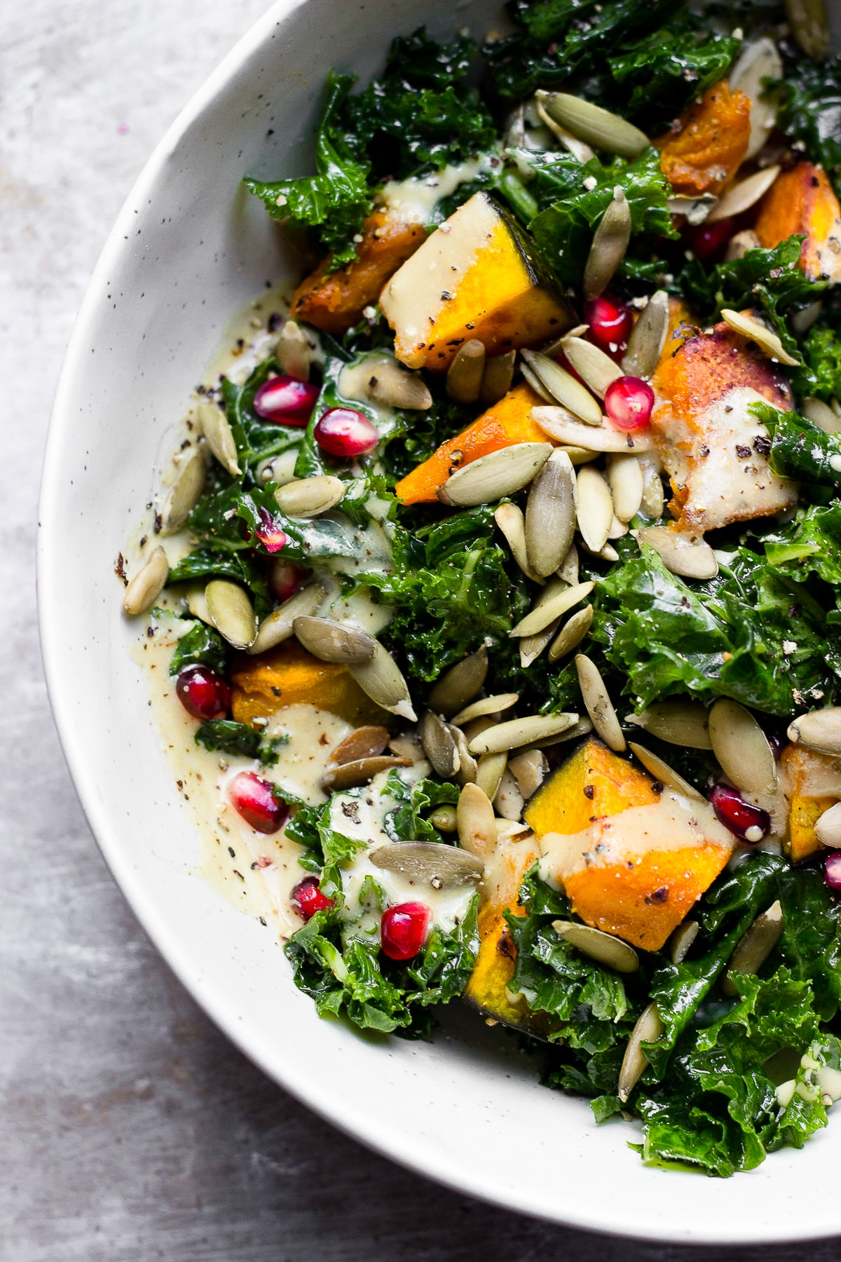 KALE SALAD WITH KABOCHA SQUASH WITH MAPLE DIJON DRESSING