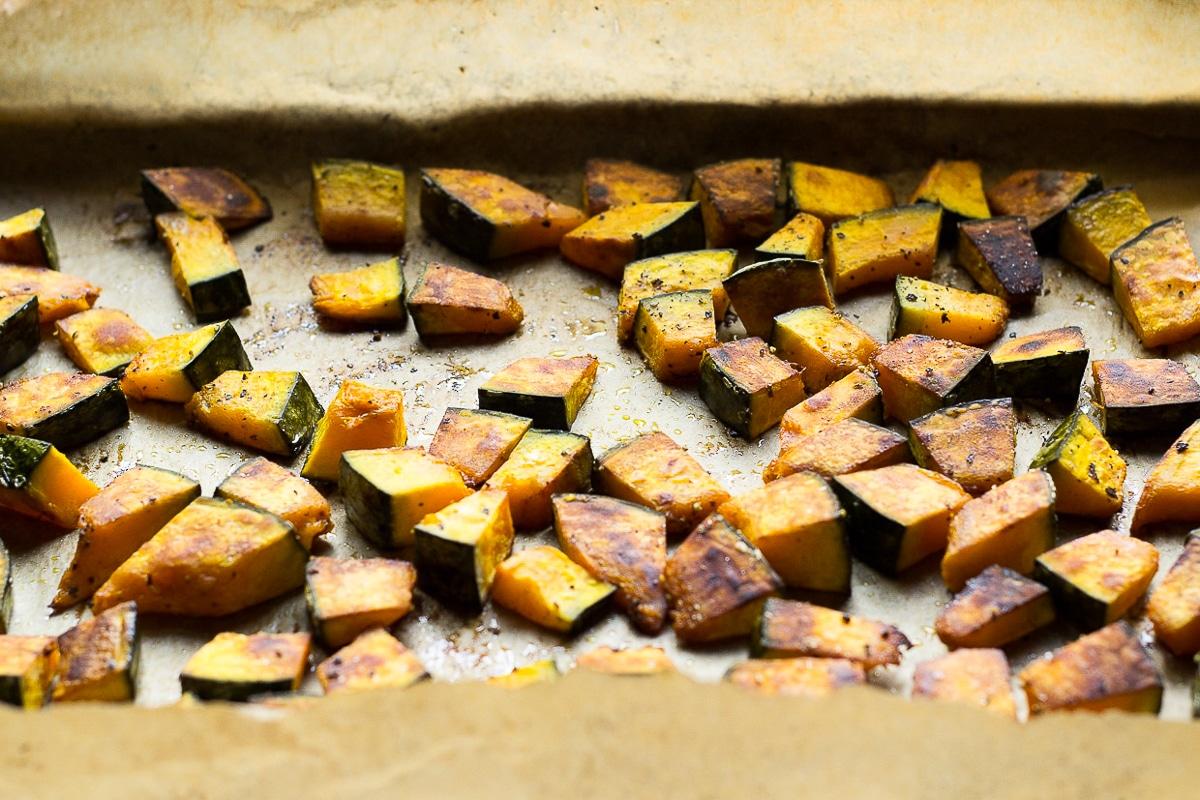 roasted kabocha squash on a sheet pan