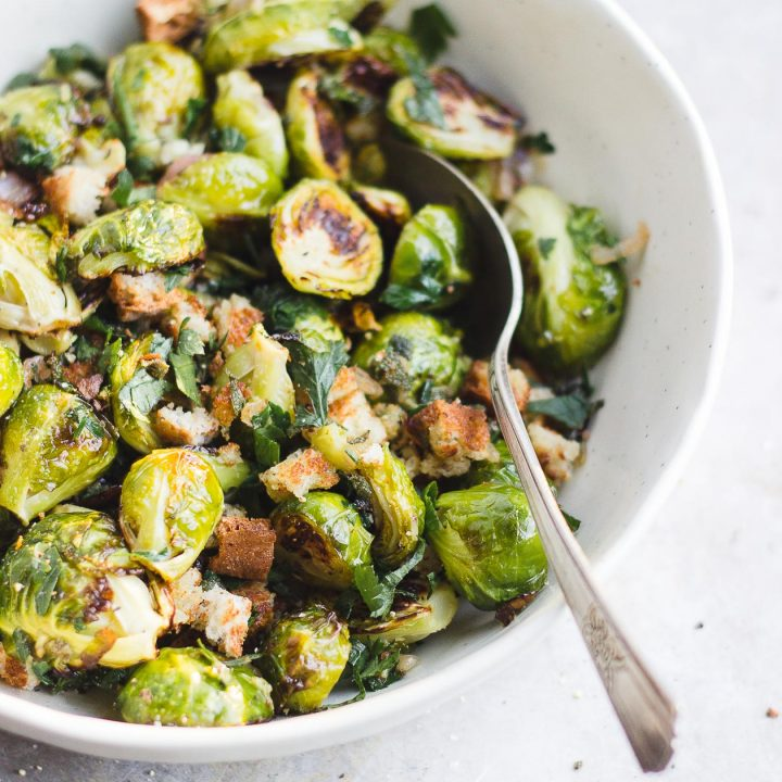 brussels sprouts with bread crumbs in a bowl