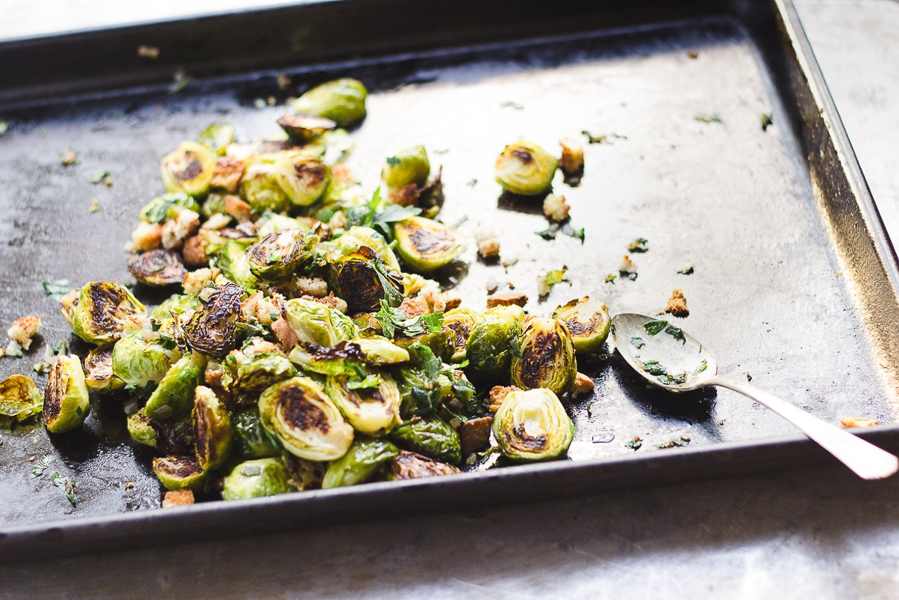 brussels sprouts with bread crumbs on a tray