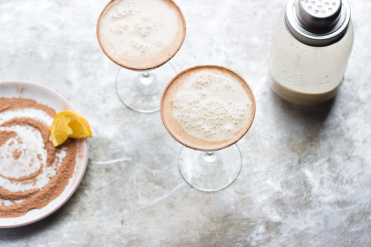 Vanilla Coffee Martinis with Salted Cocoa Rims | @withfoodandlove