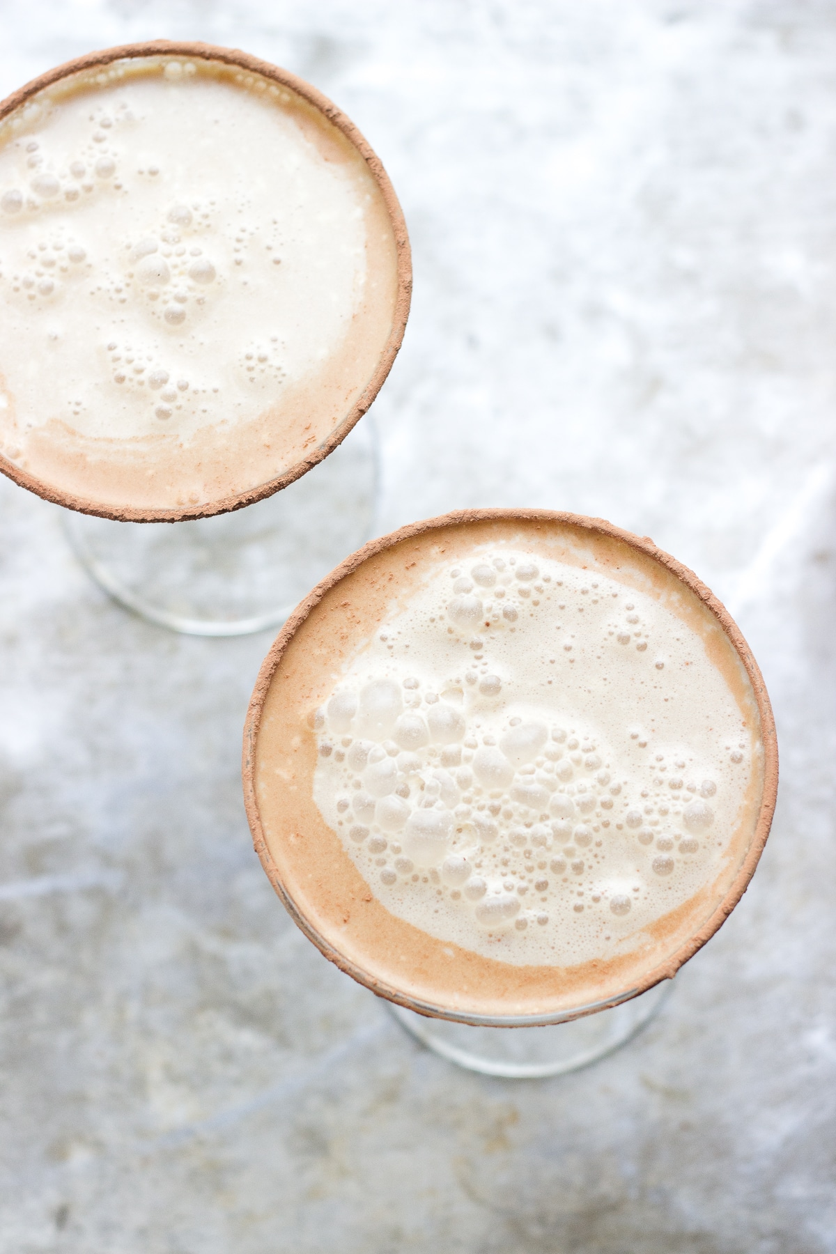 Vanilla Coffee Martinis with Salted Cocoa Rims