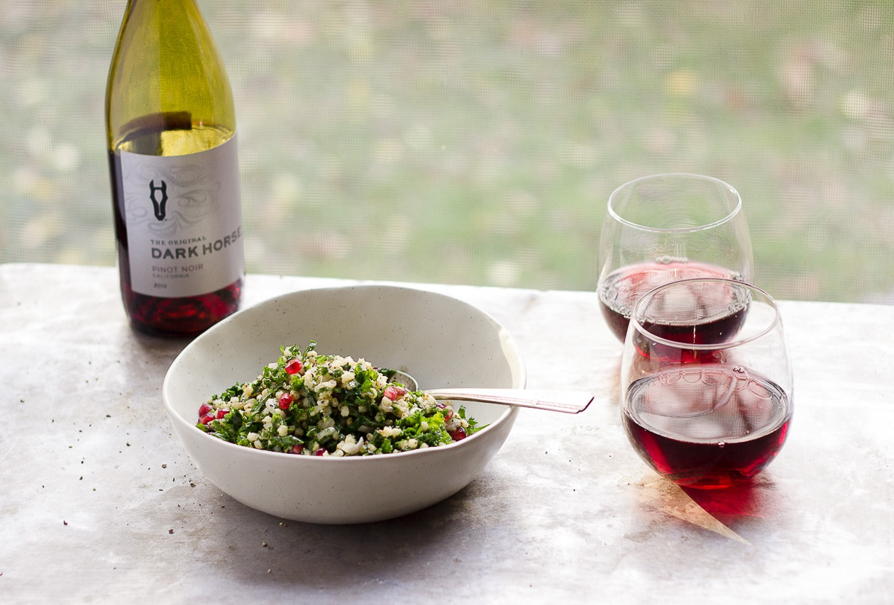 Sorghum Tabbouleh Salad with Clementine Thyme Dressing | Vegan, gluten-free sorghum tabbouleh salad. Thiswinter tabbouleh salad is built with hearty greens, and apunchy citrusy-thyme dressing.