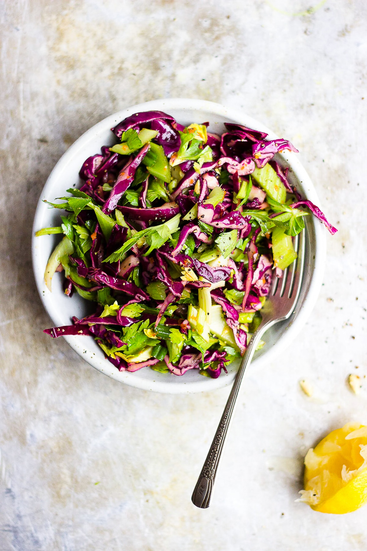 CABBAGE CELERY SALAD WITH TURMERIC VINAIGRETTE