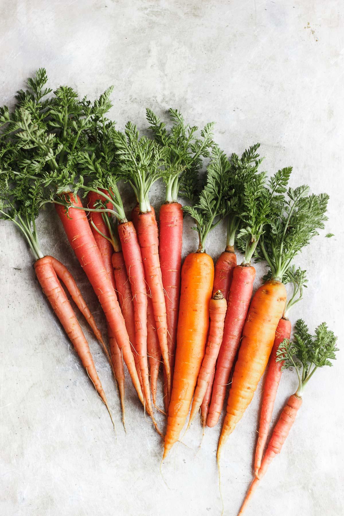 rainbow carrots on a grey surface