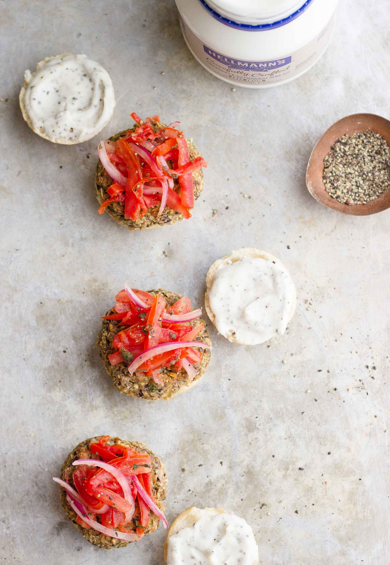 Eggplant Sliders with Tomato Slaw + Peppercorn Aioli | @withfoodandlove