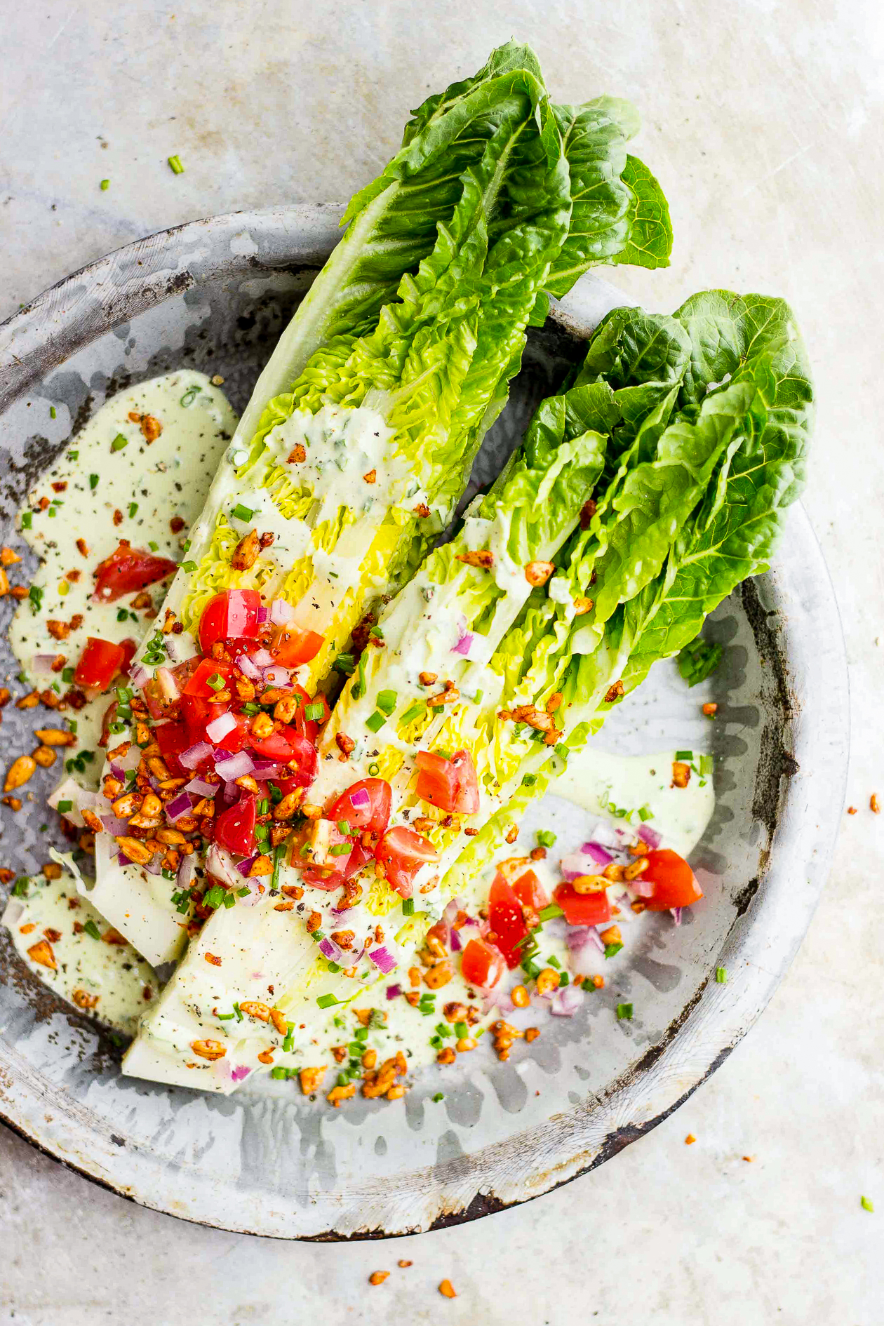 Romaine Wedge Salad with Chive Dressing + Smoky Sunflower Bits