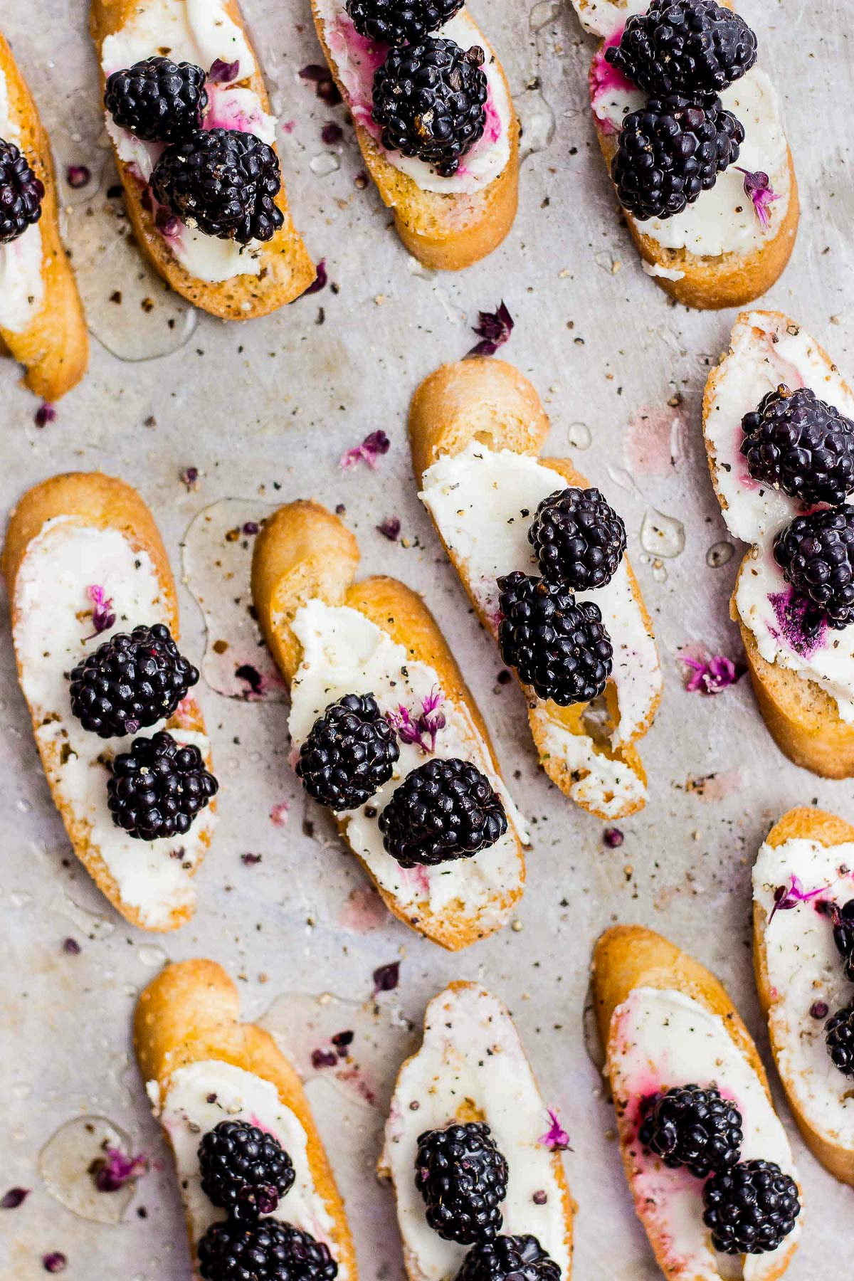 PICKLED BLACKBERRIES AND TRUFFLE HONEY BLACKBERRY CROSTINI