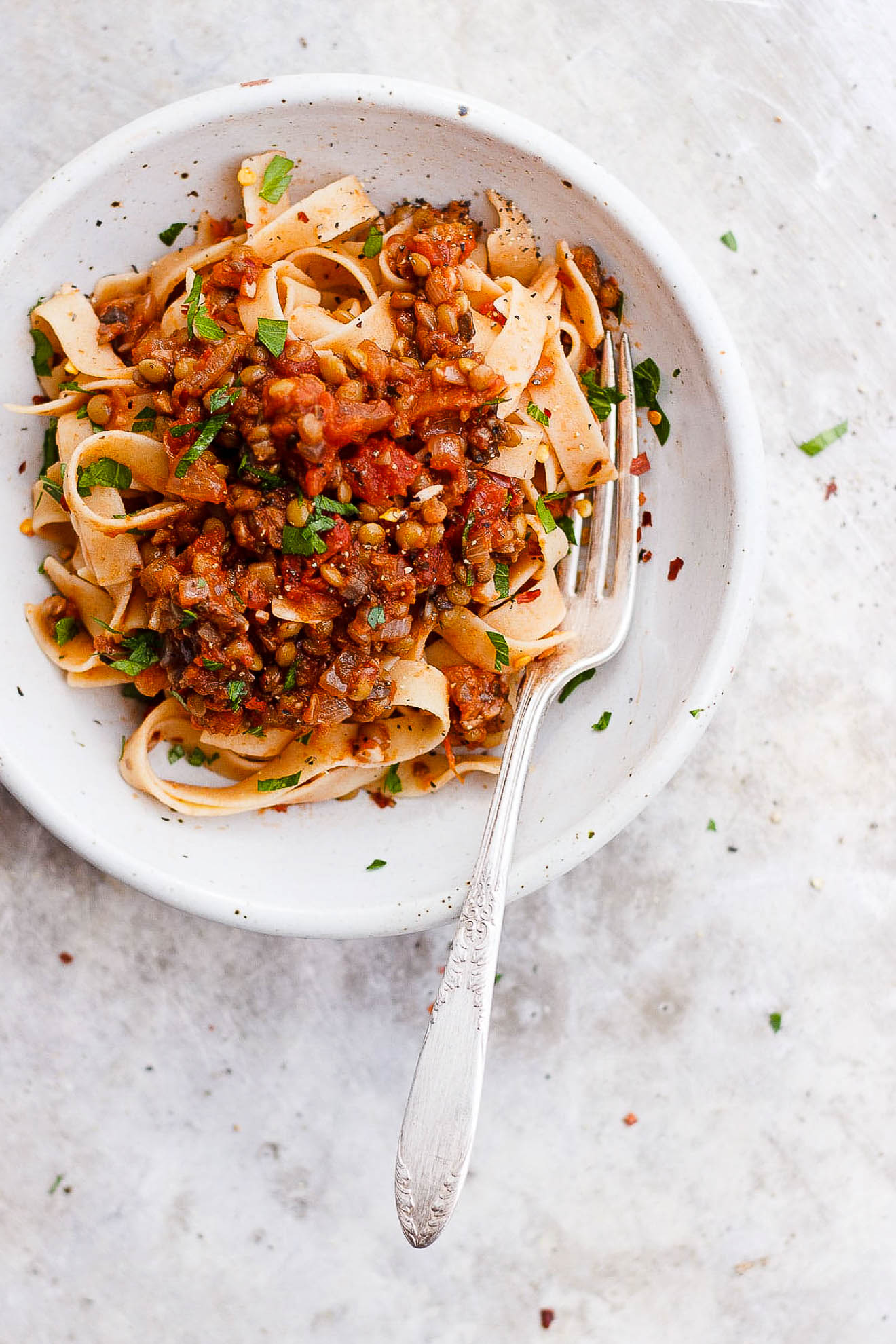 Lentil Bolognese Sauce with Mushrooms