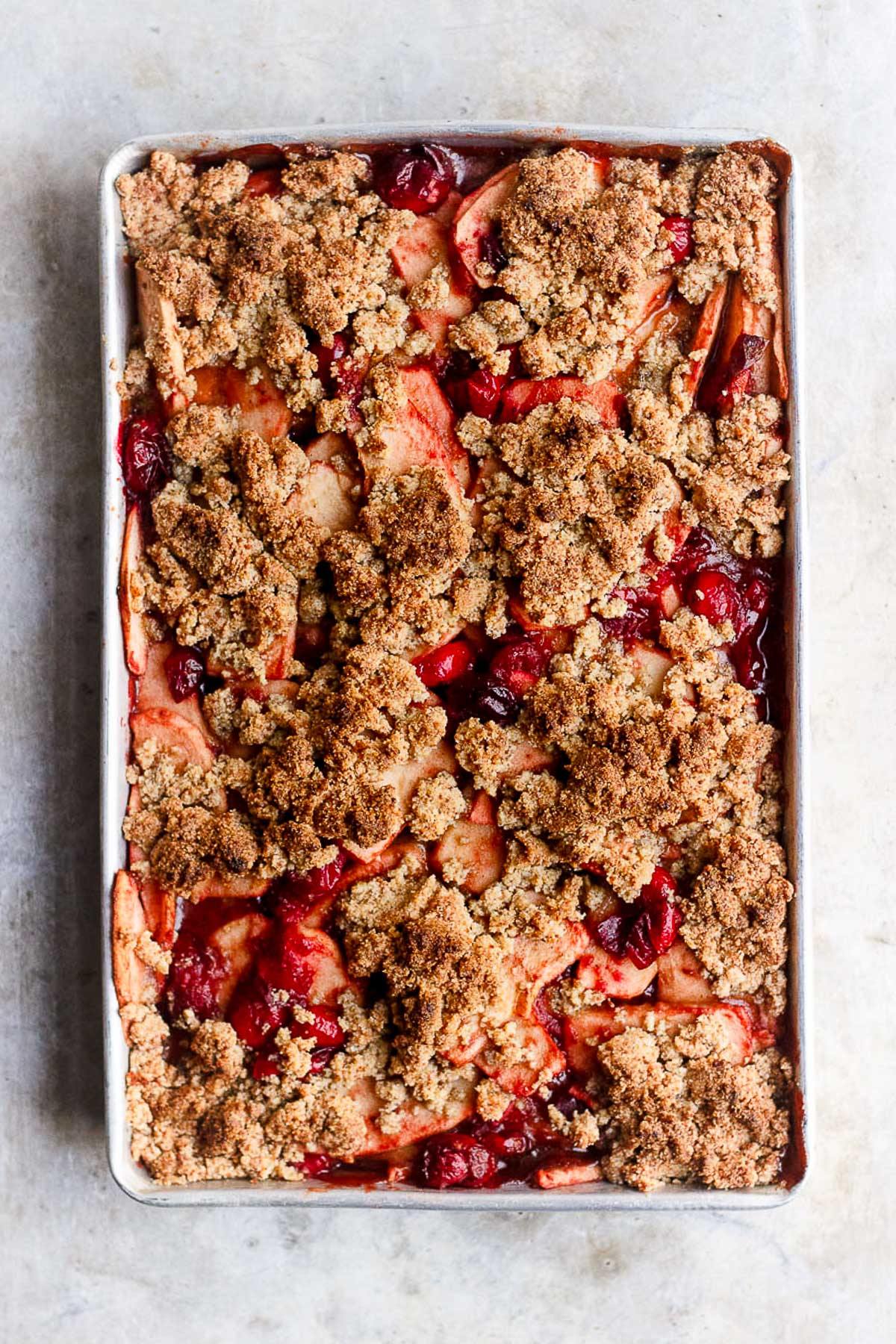 Apple Cranberry Crisp with White Wine and Olive Oil