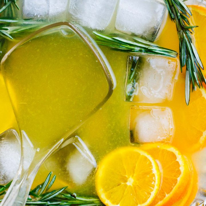 Sparkling Winter Punch with Rosemary Simple Syrup