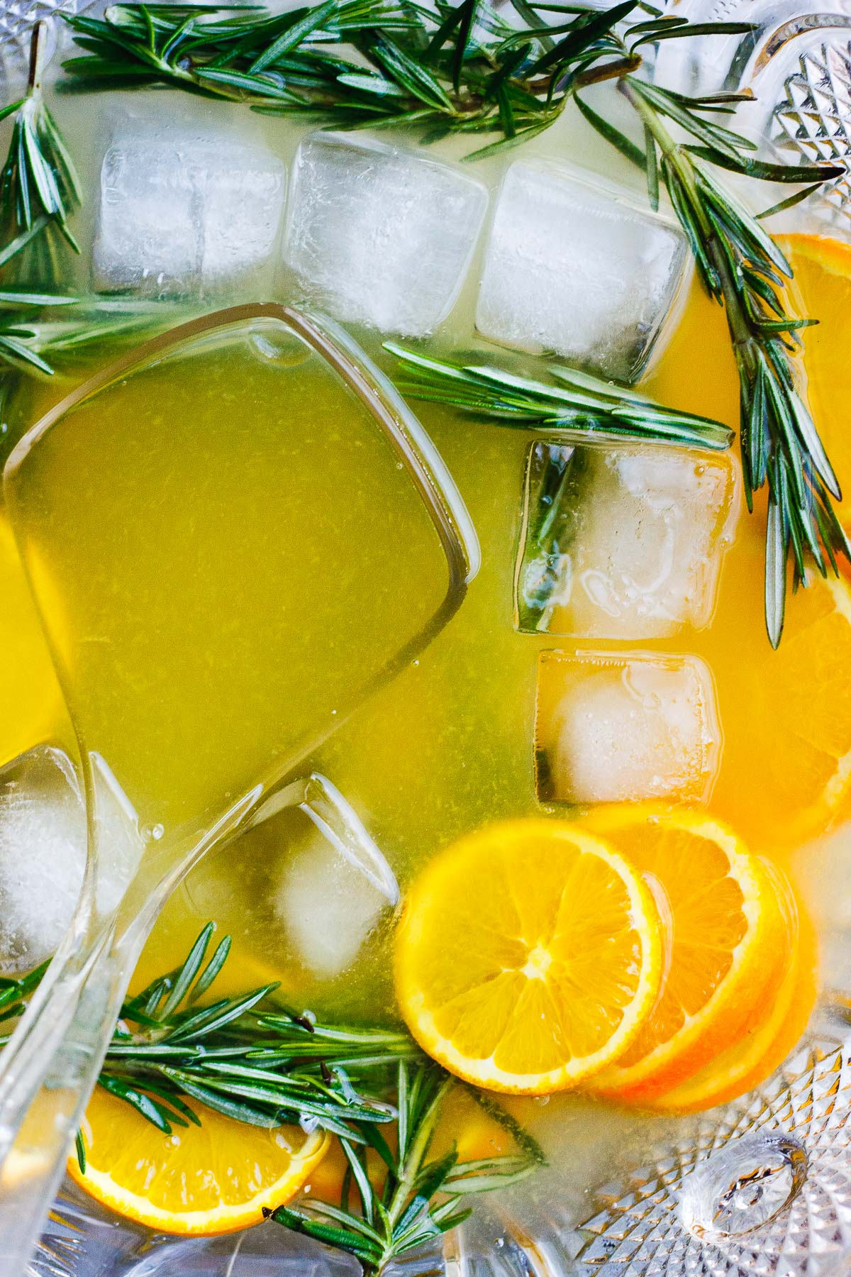Winter Champagne Punch with Honey Rosemary Simple Syrup