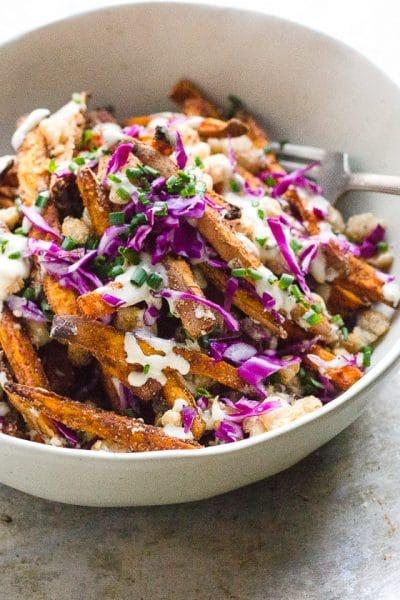 Loaded Sweet Potato Fries with Crispy Beans + Garlic Tahini Cream