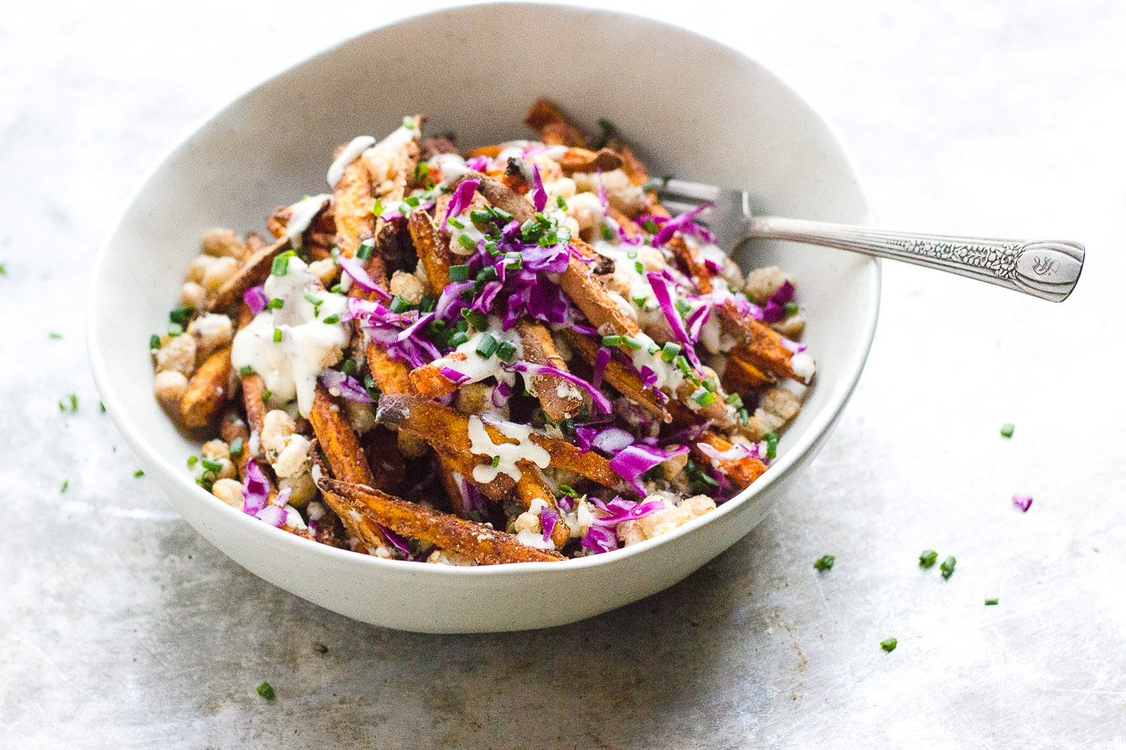 Loaded Sweet Potato Fries with Crispy Beans + Garlic Tahini Cream