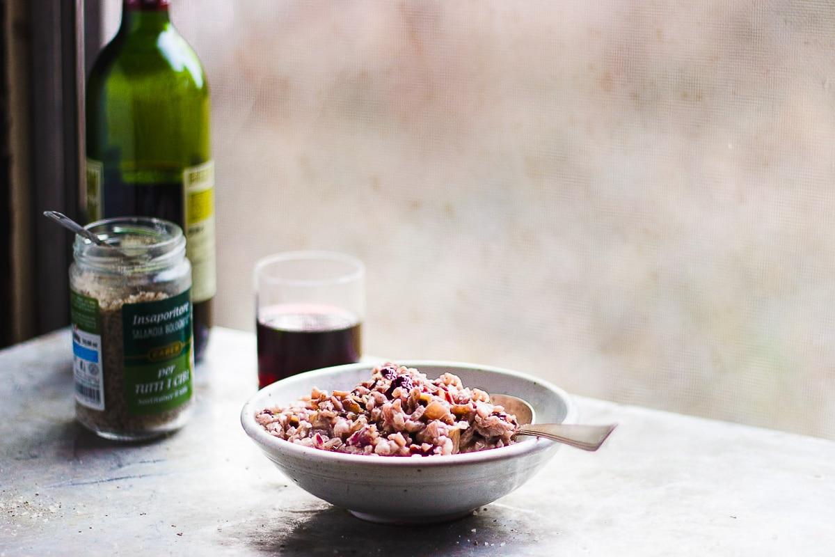 radicchio risotto in bowl